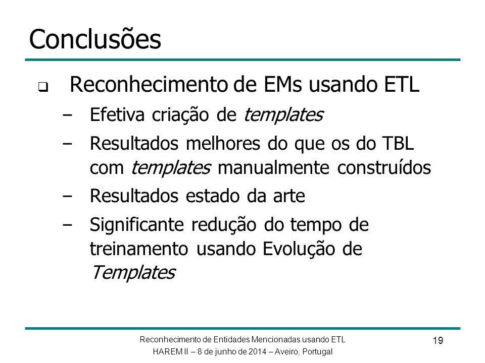 Reconhecimento de Entidades Mencionadas usando ETL HAREM II – 8 de junho de 2014 – Aveiro, Portugal 19 Conclusões Reconhecimento de EMs usando ETL – E