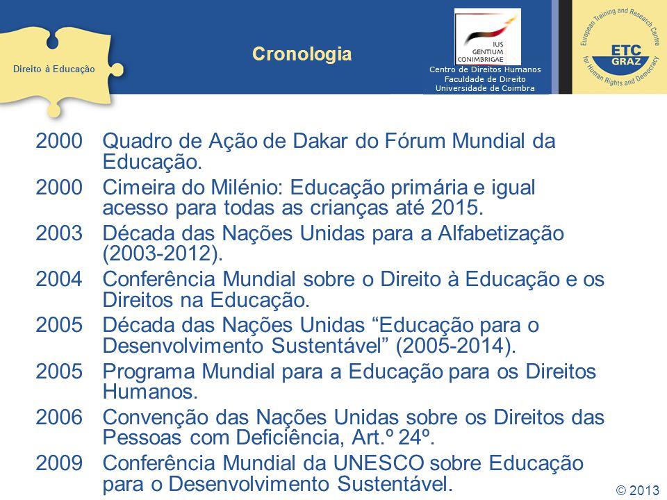 2000 Quadro de Ação de Dakar do Fórum Mundial da Educação. 2000Cimeira do Milénio: Educação primária e igual acesso para todas as crianças até 2015. 2