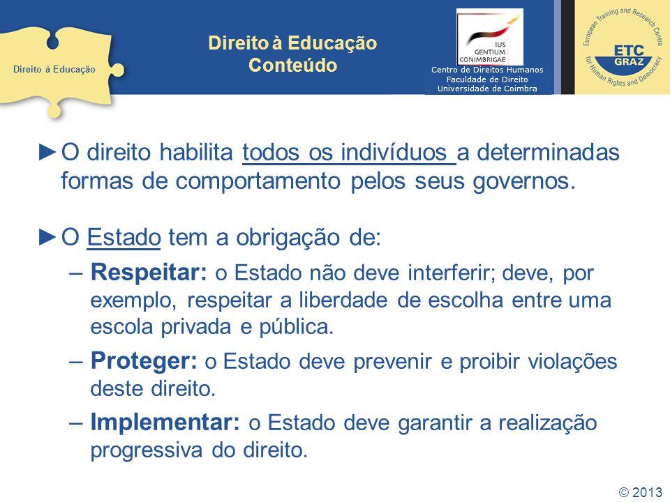 © 2013 Direito à Educação O Art.º 13º, n.º 2 do PIDESC estabelece os padrões a atingir no sentido da plena realização do direito: Educação básica: gratuita e compulsória.