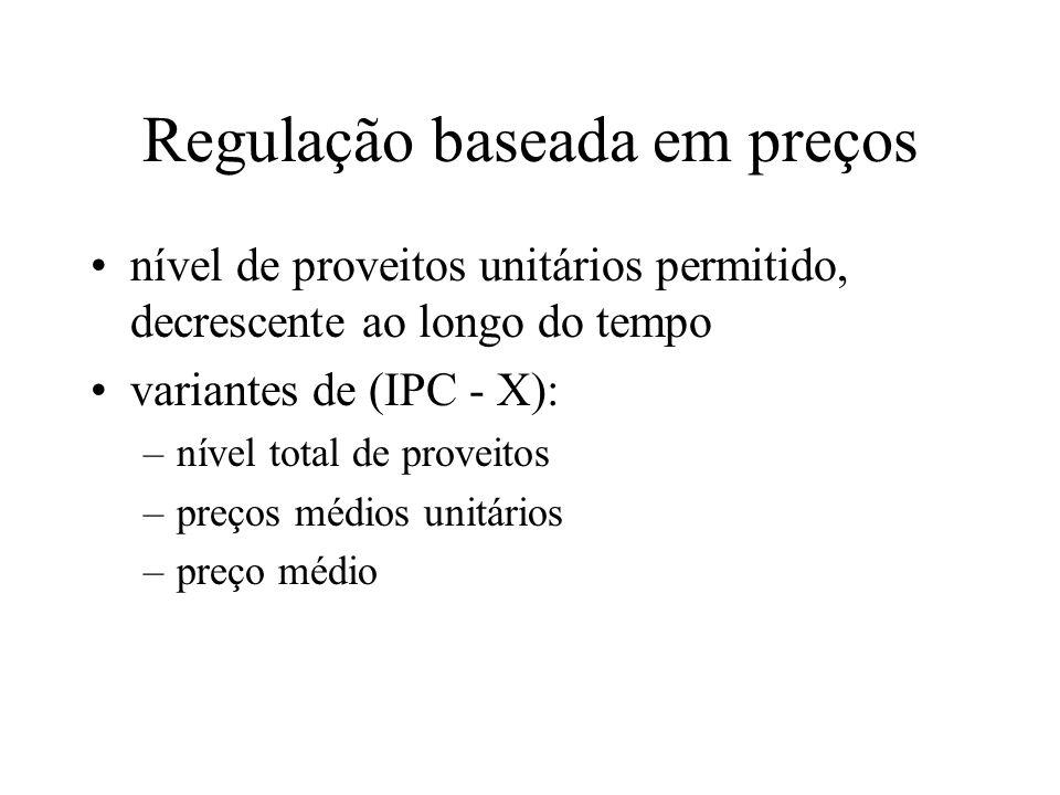 Regulação baseada em preços nível de proveitos unitários permitido, decrescente ao longo do tempo variantes de (IPC - X): –nível total de proveitos –p
