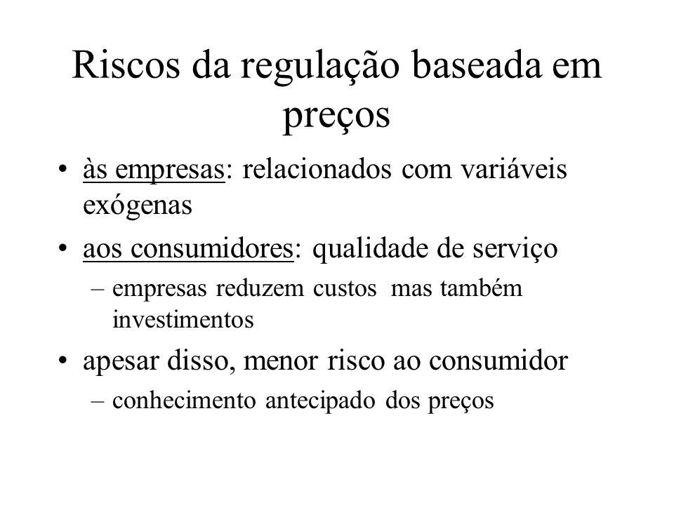 Riscos da regulação baseada em preços às empresas: relacionados com variáveis exógenas aos consumidores: qualidade de serviço –empresas reduzem custos