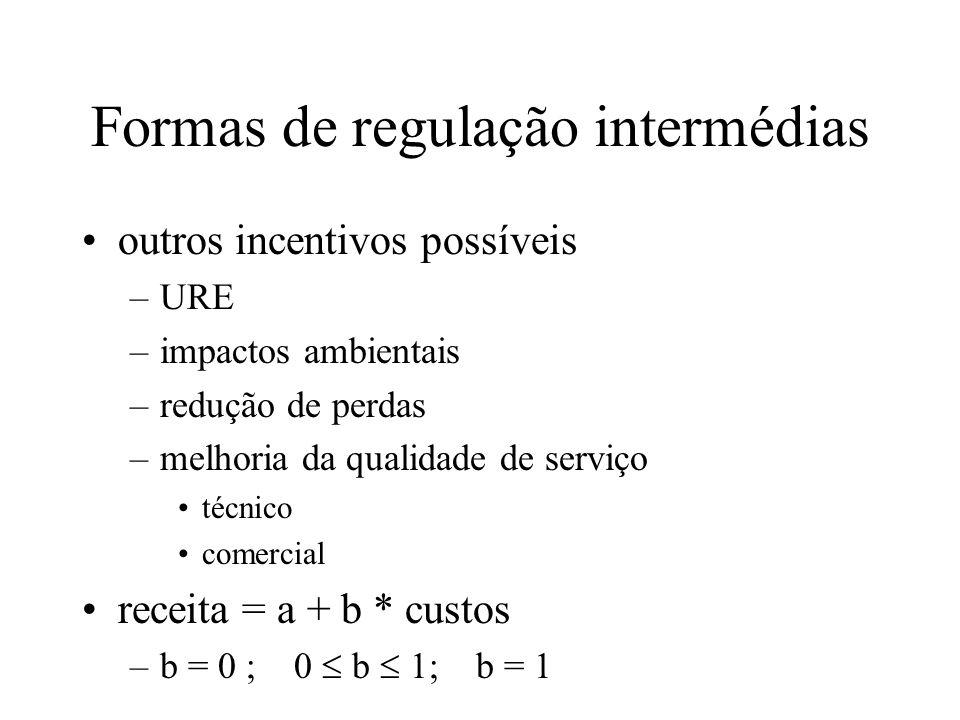 Formas de regulação intermédias outros incentivos possíveis –URE –impactos ambientais –redução de perdas –melhoria da qualidade de serviço técnico com