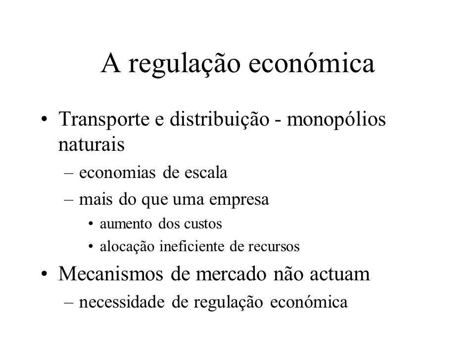 A regulação económica Transporte e distribuição - monopólios naturais –economias de escala –mais do que uma empresa aumento dos custos alocação inefic