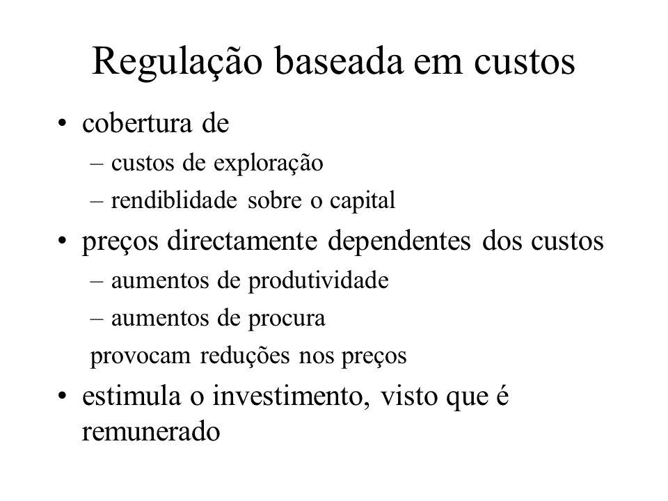 Regulação baseada em custos cobertura de –custos de exploração –rendiblidade sobre o capital preços directamente dependentes dos custos –aumentos de p