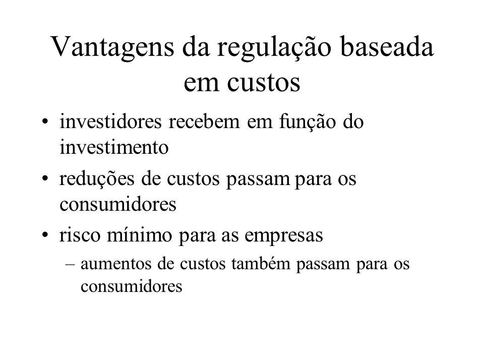 Vantagens da regulação baseada em custos investidores recebem em função do investimento reduções de custos passam para os consumidores risco mínimo pa