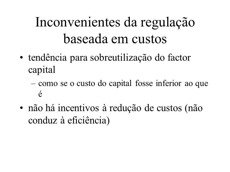 Inconvenientes da regulação baseada em custos tendência para sobreutilização do factor capital –como se o custo do capital fosse inferior ao que é não