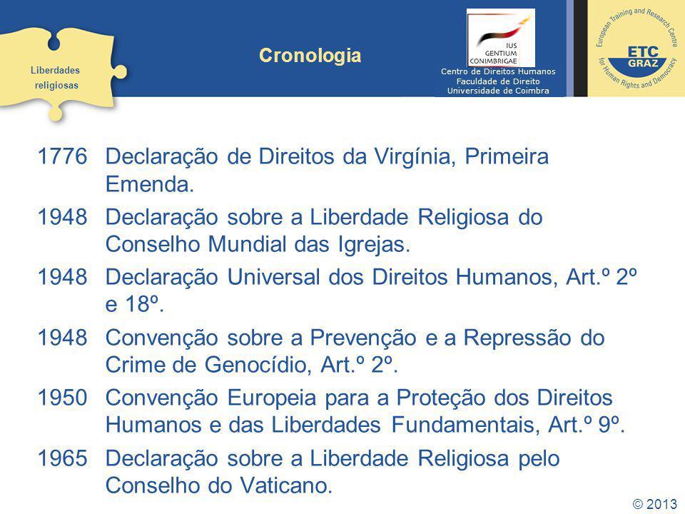 © 2013 Cronologia 1776 Declaração de Direitos da Virgínia, Primeira Emenda. 1948 Declaração sobre a Liberdade Religiosa do Conselho Mundial das Igreja