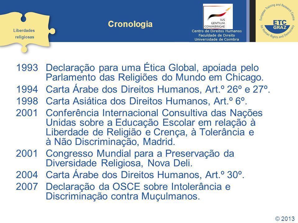 1993 Declaração para uma Ética Global, apoiada pelo Parlamento das Religiões do Mundo em Chicago. 1994 Carta Árabe dos Direitos Humanos, Art.º 26º e 2