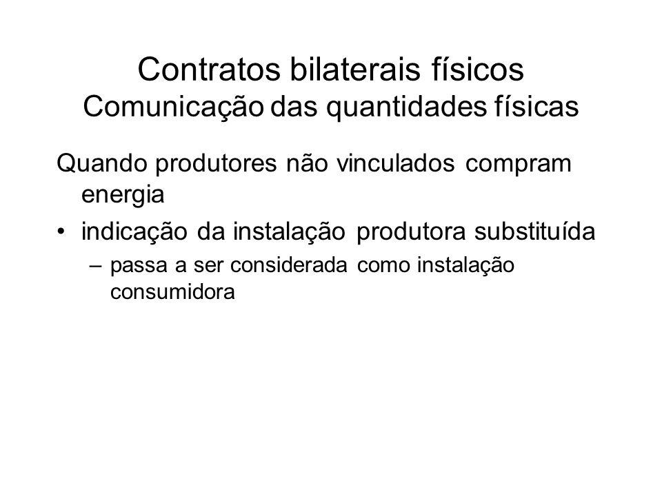Contratos bilaterais físicos Comunicação das quantidades físicas Quando produtores não vinculados compram energia indicação da instalação produtora substituída –passa a ser considerada como instalação consumidora