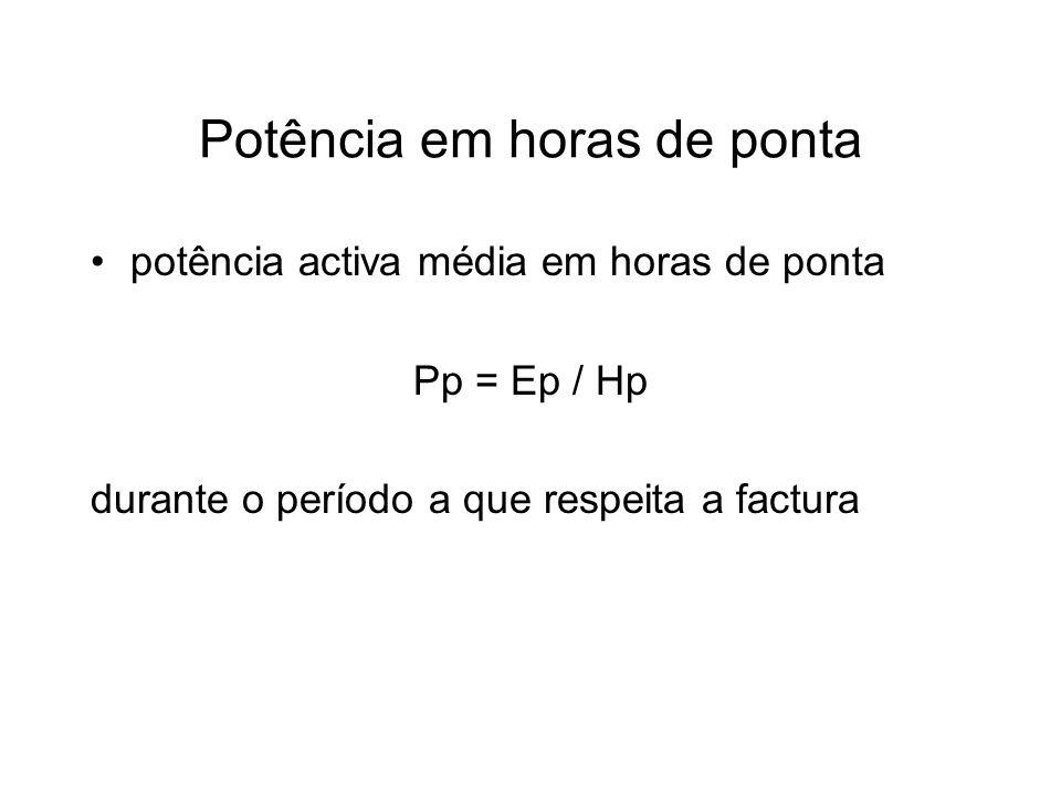 Potência em horas de ponta potência activa média em horas de ponta Pp = Ep / Hp durante o período a que respeita a factura