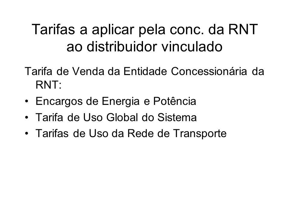 Tarifas a aplicar pela conc. da RNT ao distribuidor vinculado Tarifa de Venda da Entidade Concessionária da RNT: Encargos de Energia e Potência Tarifa