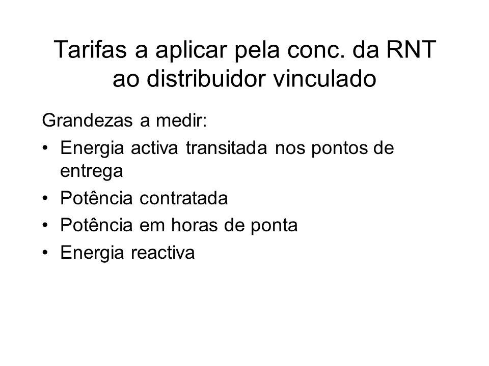 Tarifas a aplicar pela conc. da RNT ao distribuidor vinculado Grandezas a medir: Energia activa transitada nos pontos de entrega Potência contratada P
