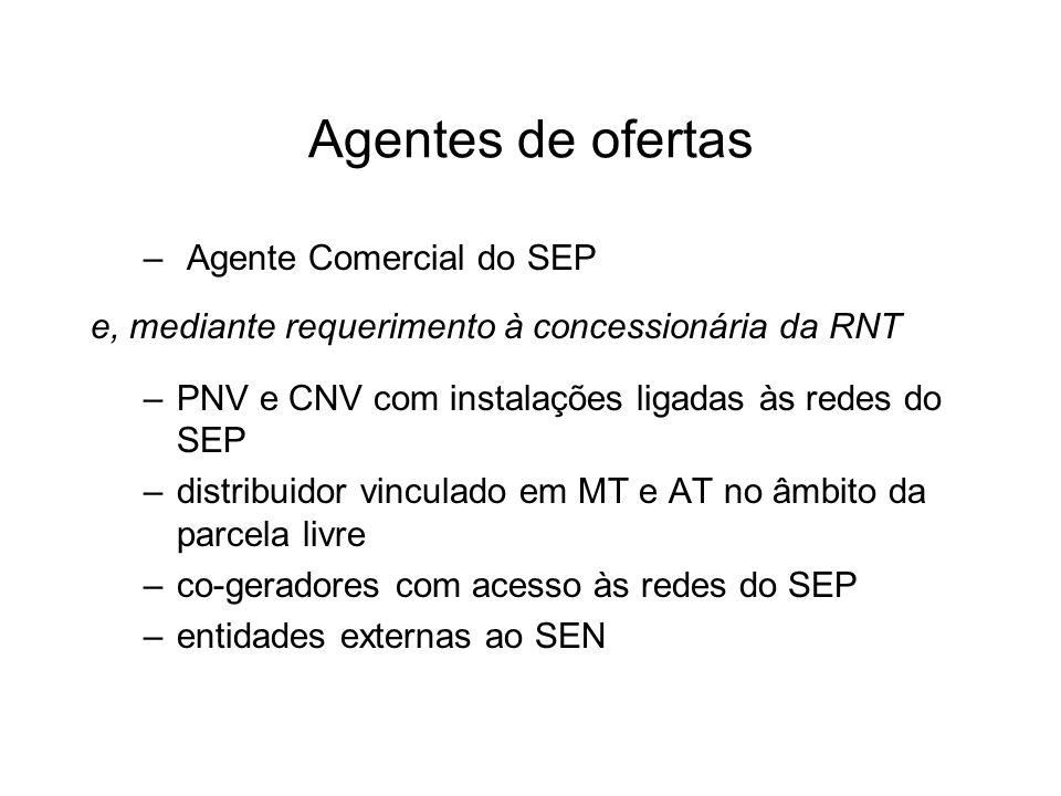 Agentes de ofertas – Agente Comercial do SEP e, mediante requerimento à concessionária da RNT –PNV e CNV com instalações ligadas às redes do SEP –distribuidor vinculado em MT e AT no âmbito da parcela livre –co-geradores com acesso às redes do SEP –entidades externas ao SEN