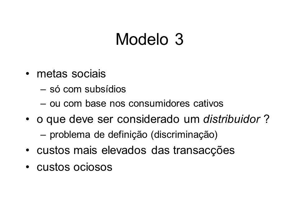 Modelo 3 metas sociais –só com subsídios –ou com base nos consumidores cativos o que deve ser considerado um distribuidor ? –problema de definição (di