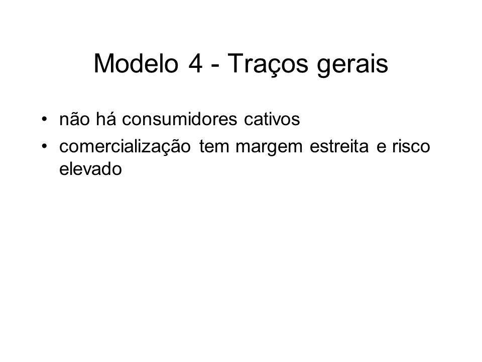 Modelo 4 - Traços gerais não há consumidores cativos comercialização tem margem estreita e risco elevado