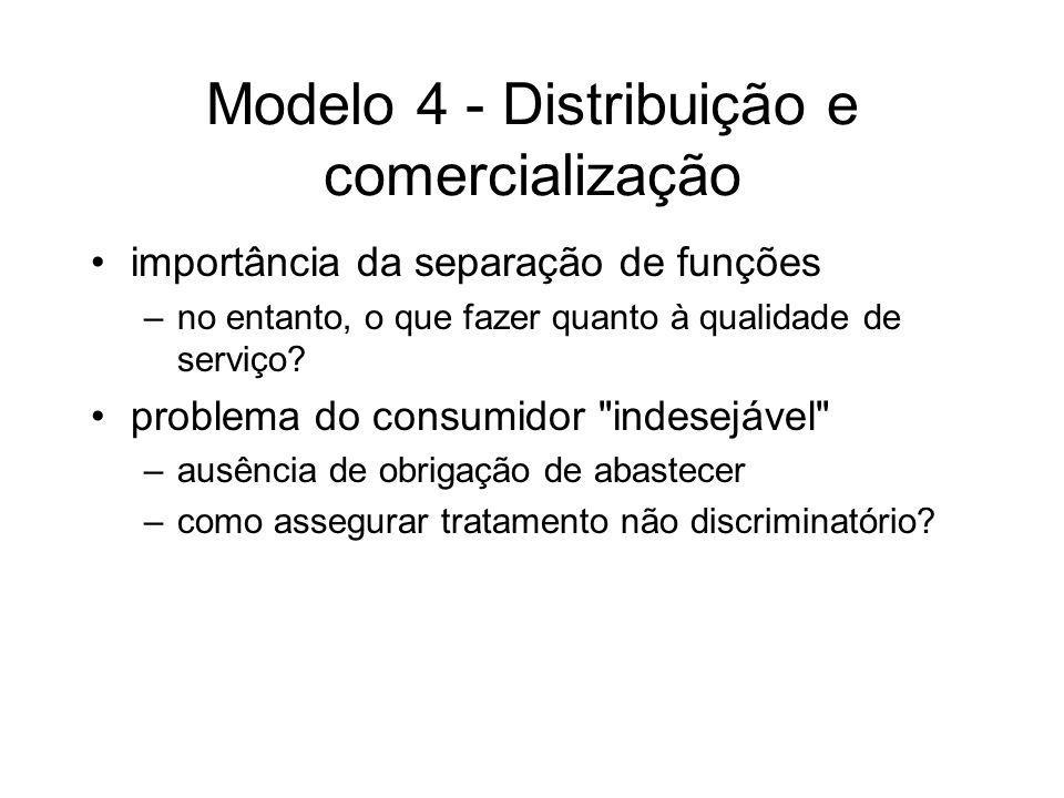 Modelo 4 - Distribuição e comercialização importância da separação de funções –no entanto, o que fazer quanto à qualidade de serviço? problema do cons