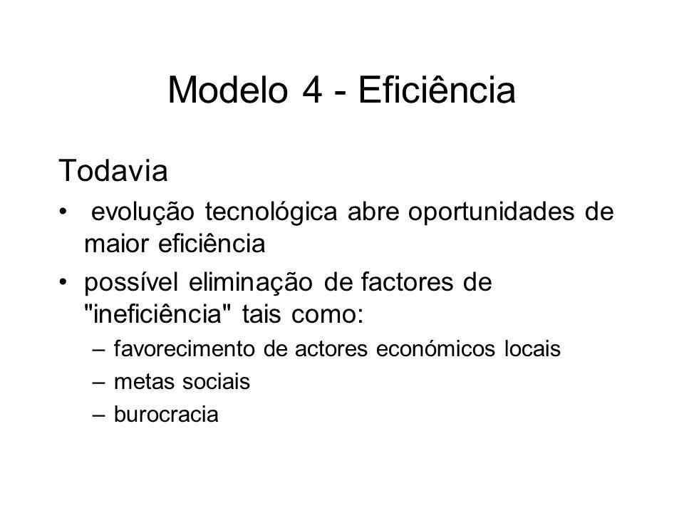 Modelo 4 - Eficiência Todavia evolução tecnológica abre oportunidades de maior eficiência possível eliminação de factores de
