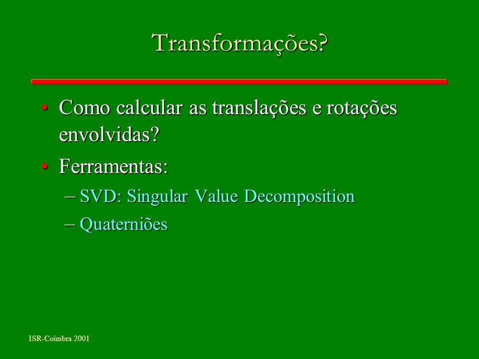 ISR-Coimbra 2001 Transformações? Como calcular as translações e rotações envolvidas?Como calcular as translações e rotações envolvidas? Ferramentas:Fe