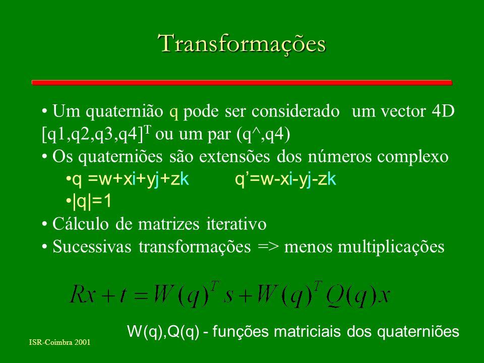 ISR-Coimbra 2001 Transformações W(q),Q(q) - funções matriciais dos quaterniões Um quaternião q pode ser considerado um vector 4D [q1,q2,q3,q4] T ou um
