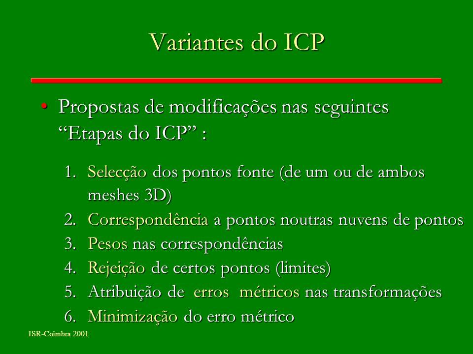 ISR-Coimbra 2001 Variantes do ICP Propostas de modificações nas seguintes Etapas do ICP :Propostas de modificações nas seguintes Etapas do ICP : 1.Sel
