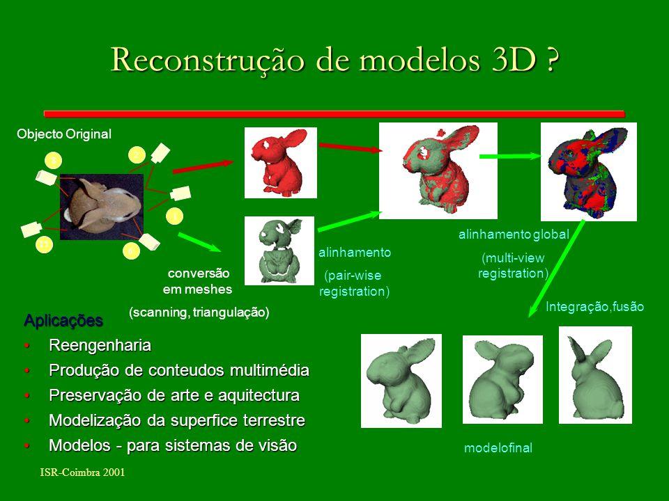 ISR-Coimbra 2001 Reconstrução de modelos 3D ? 1 15 8 6 2 Aplicações ReengenhariaReengenharia Produção de conteudos multimédiaProdução de conteudos mul