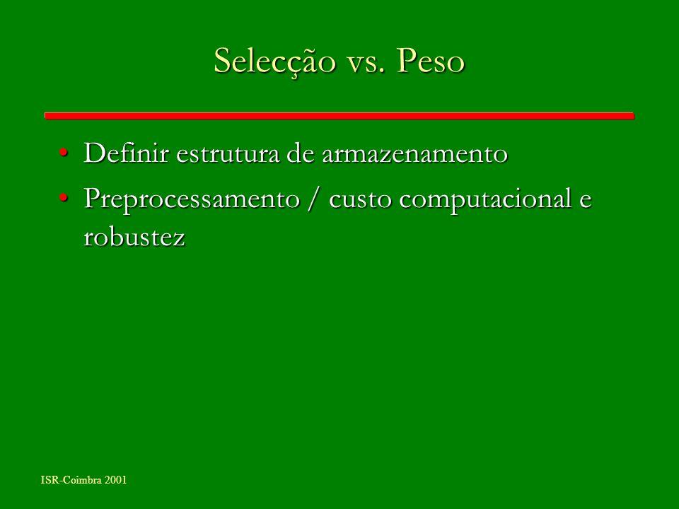 ISR-Coimbra 2001 Selecção vs. Peso Definir estrutura de armazenamentoDefinir estrutura de armazenamento Preprocessamento / custo computacional e robus