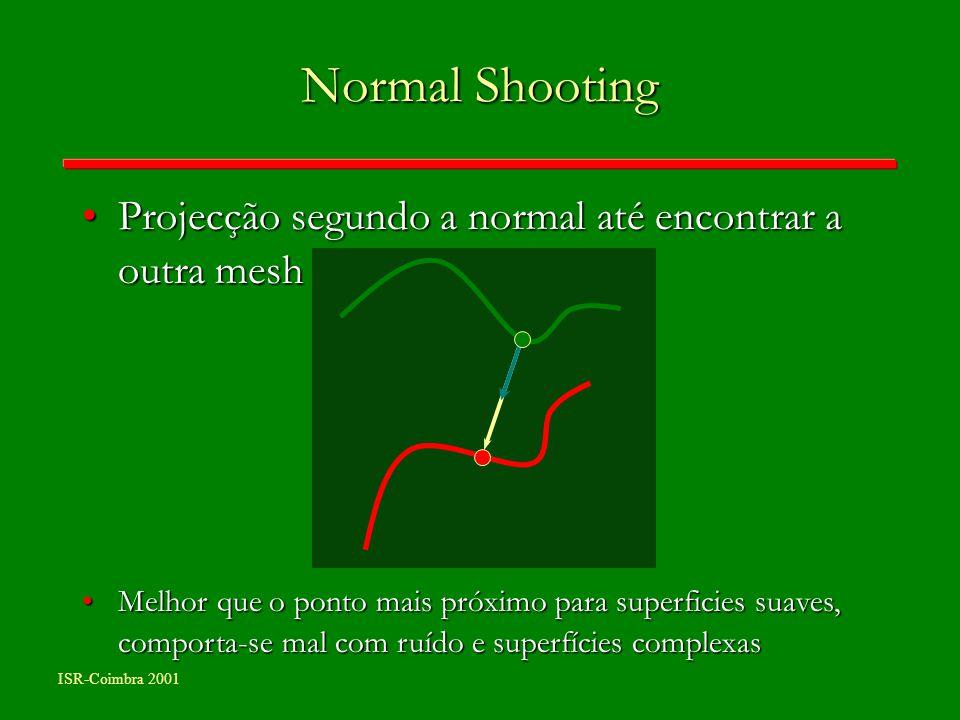 ISR-Coimbra 2001 Normal Shooting Projecção segundo a normal até encontrar a outra meshProjecção segundo a normal até encontrar a outra mesh Melhor que