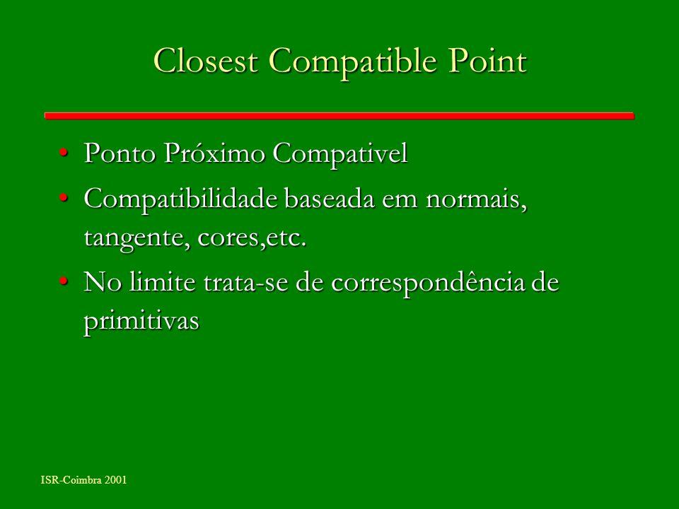 ISR-Coimbra 2001 Closest Compatible Point Ponto Próximo CompativelPonto Próximo Compativel Compatibilidade baseada em normais, tangente, cores,etc.Com
