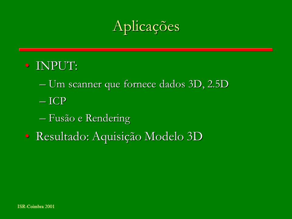 ISR-Coimbra 2001 Aplicações INPUT:INPUT: – Um scanner que fornece dados 3D, 2.5D – ICP – Fusão e Rendering Resultado: Aquisição Modelo 3DResultado: Aq