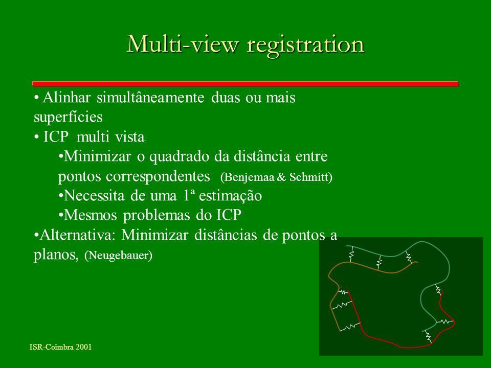 Multi-view registration Alinhar simultâneamente duas ou mais superfícies ICP multi vista Minimizar o quadrado da distância entre pontos correspondente