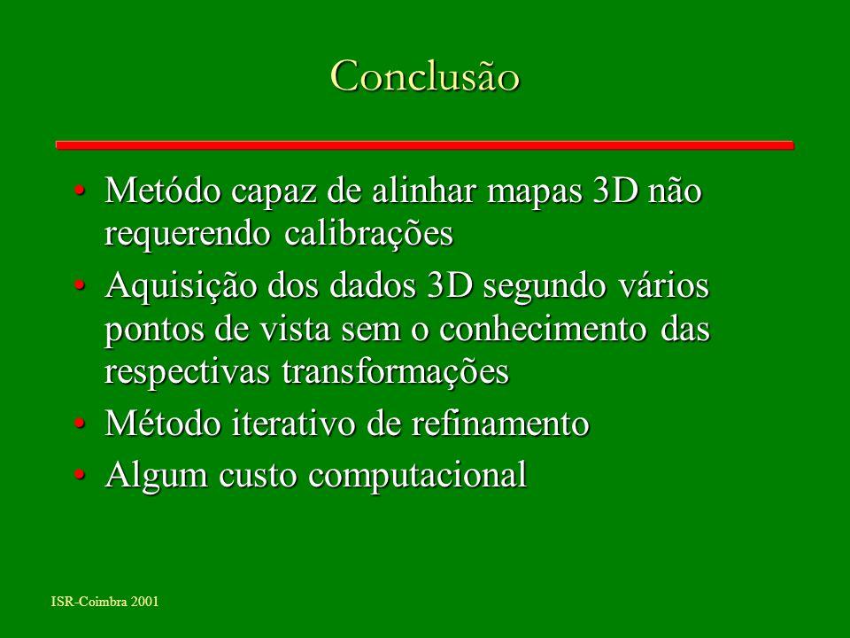 ISR-Coimbra 2001 Conclusão Metódo capaz de alinhar mapas 3D não requerendo calibraçõesMetódo capaz de alinhar mapas 3D não requerendo calibrações Aqui