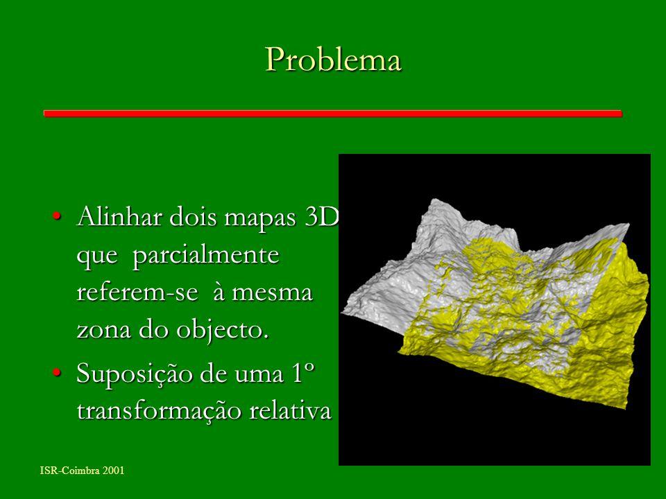 ISR-Coimbra 2001 Problema Alinhar dois mapas 3D que parcialmente referem-se à mesma zona do objecto.Alinhar dois mapas 3D que parcialmente referem-se