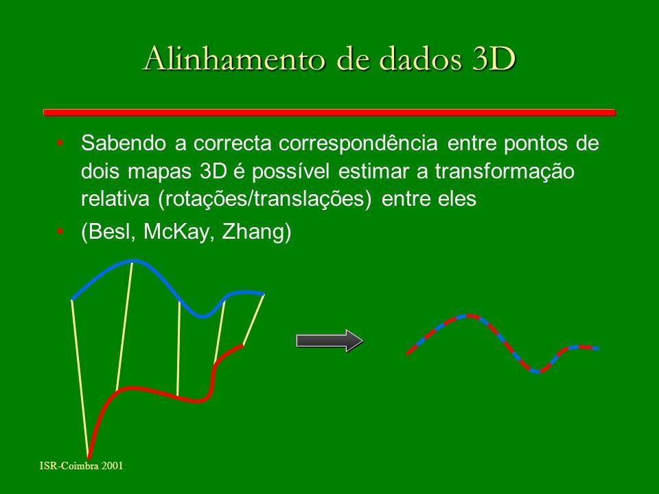 ISR-Coimbra 2001 Alinhamento de dados 3D Sabendo a correcta correspondência entre pontos de dois mapas 3D é possível estimar a transformação relativa