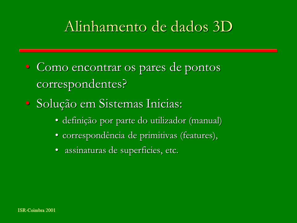 ISR-Coimbra 2001 Alinhamento de dados 3D Como encontrar os pares de pontos correspondentes?Como encontrar os pares de pontos correspondentes? Solução