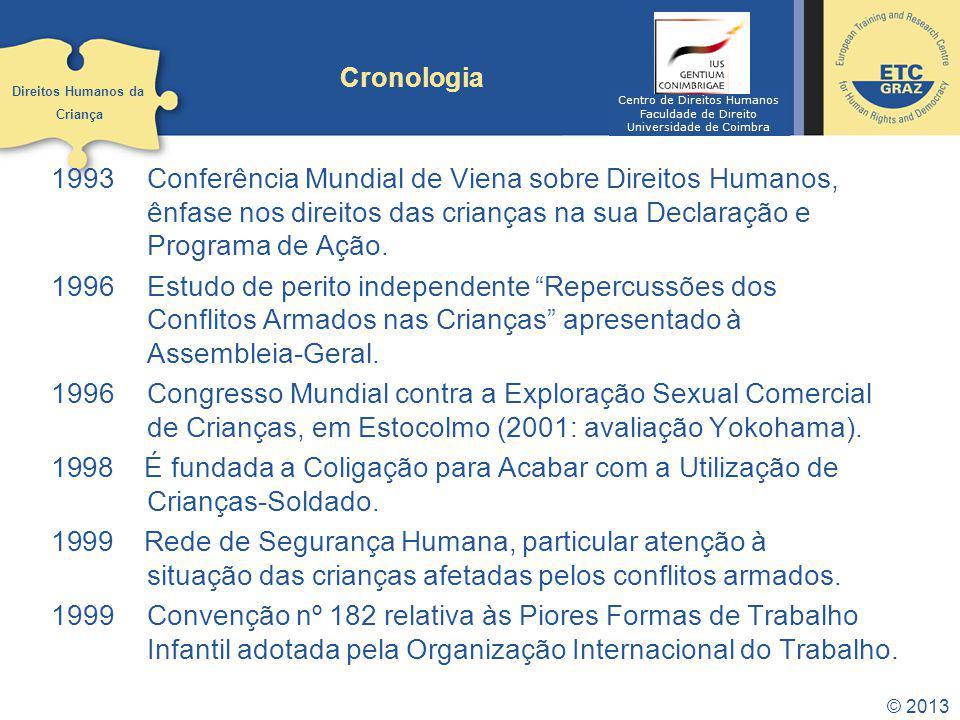 © 2013 Cronologia 1993Conferência Mundial de Viena sobre Direitos Humanos, ênfase nos direitos das crianças na sua Declaração e Programa de Ação.