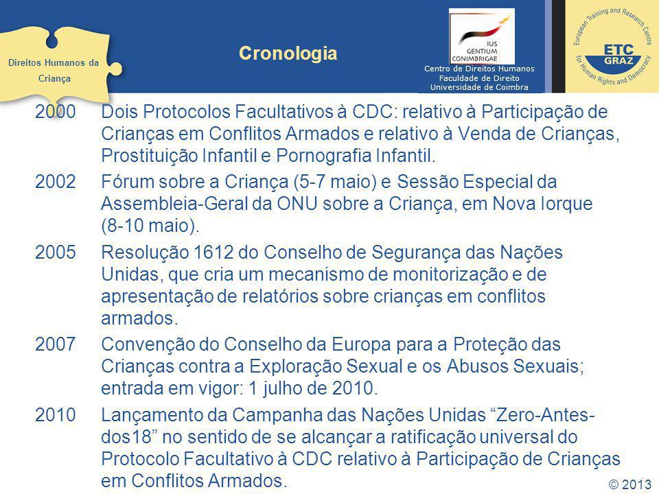 2000Dois Protocolos Facultativos à CDC: relativo à Participação de Crianças em Conflitos Armados e relativo à Venda de Crianças, Prostituição Infantil e Pornografia Infantil.