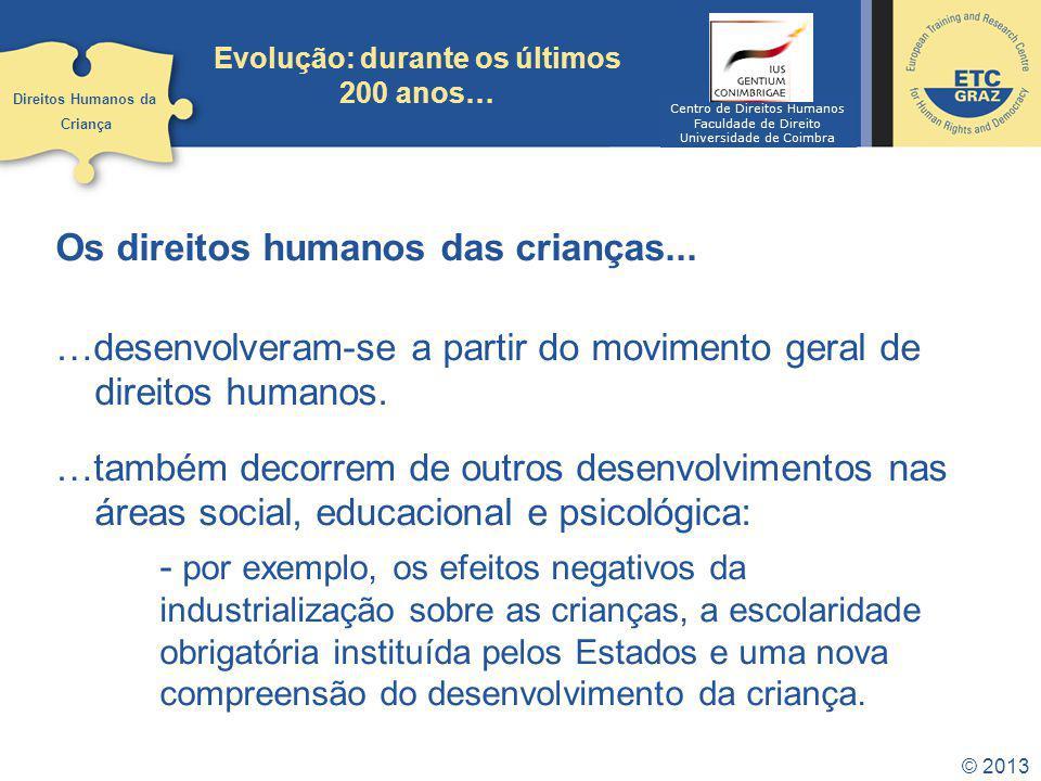 © 2013 Evolução: durante os últimos 200 anos… Os direitos humanos das crianças... …desenvolveram-se a partir do movimento geral de direitos humanos. …