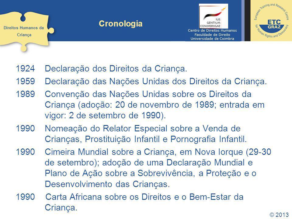 © 2013 Cronologia 1924Declaração dos Direitos da Criança. 1959Declaração das Nações Unidas dos Direitos da Criança. 1989Convenção das Nações Unidas so