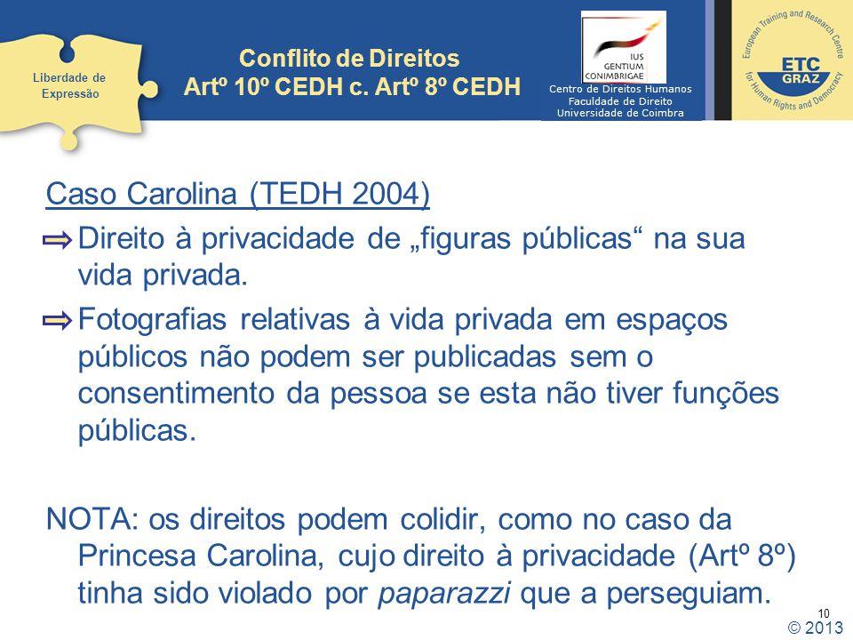 10 Conflito de Direitos Artº 10º CEDH c. Artº 8º CEDH Caso Carolina (TEDH 2004) Direito à privacidade de figuras públicas na sua vida privada. Fotogra
