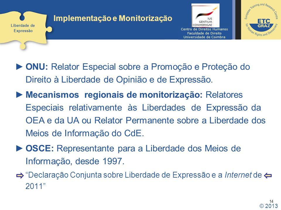 14 Implementação e Monitorização ONU: Relator Especial sobre a Promoção e Proteção do Direito à Liberdade de Opinião e de Expressão. Mecanismos region