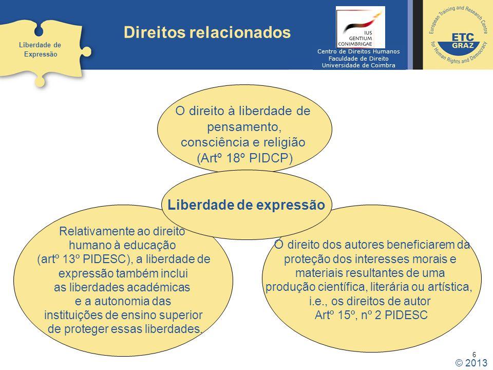 6 Direitos relacionados Liberdade de Expressão O direito à liberdade de pensamento, consciência e religião (Artº 18º PIDCP) O direito dos autores bene