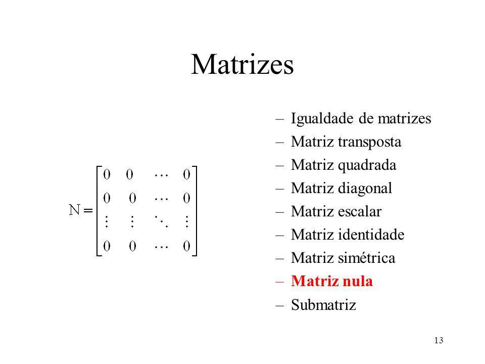 13 Matrizes –Igualdade de matrizes –Matriz transposta –Matriz quadrada –Matriz diagonal –Matriz escalar –Matriz identidade –Matriz simétrica –Matriz nula –Submatriz