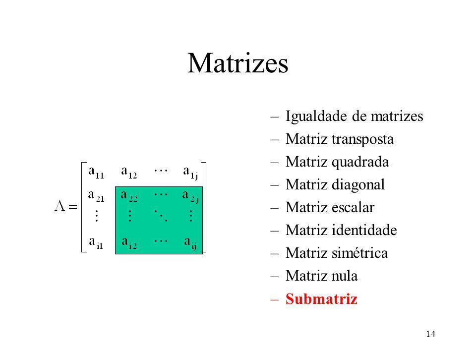 14 Matrizes –Igualdade de matrizes –Matriz transposta –Matriz quadrada –Matriz diagonal –Matriz escalar –Matriz identidade –Matriz simétrica –Matriz nula –Submatriz