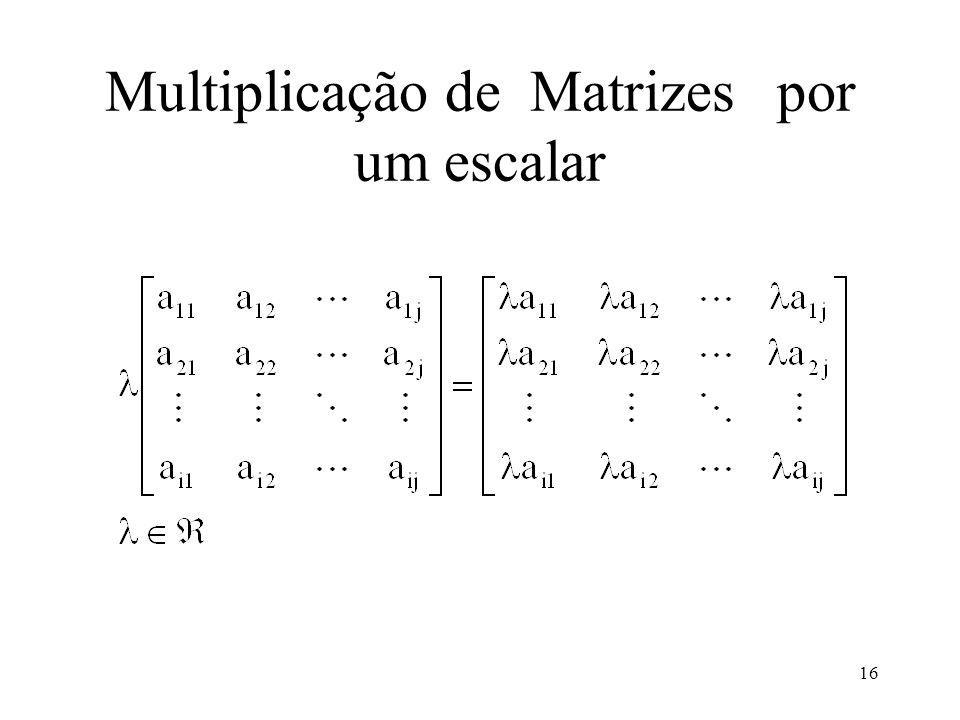 16 Multiplicação de Matrizespor um escalar
