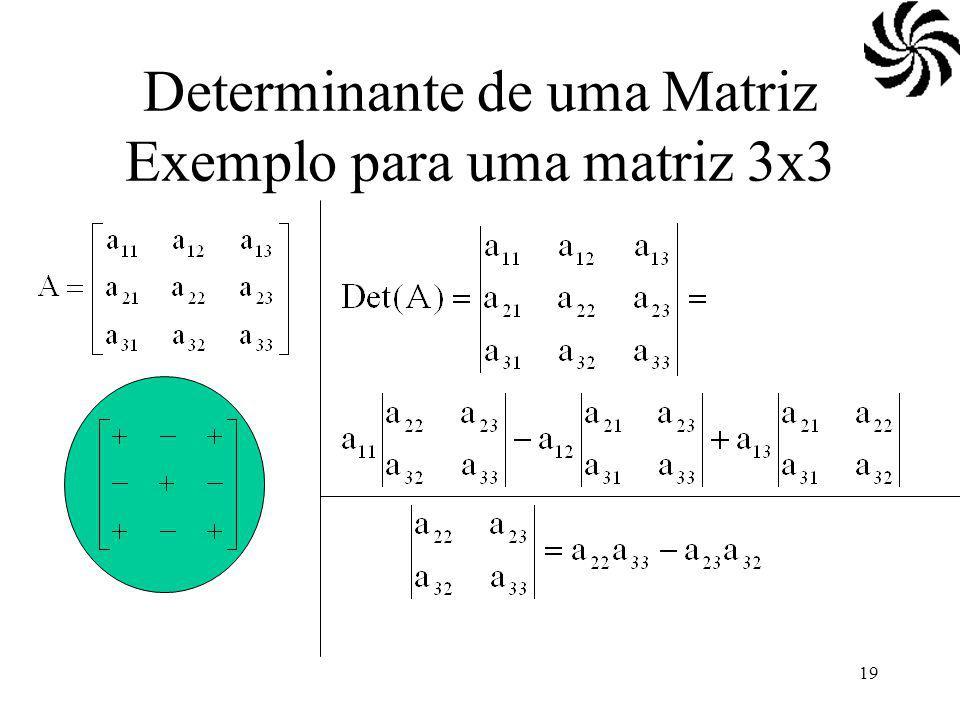 19 Determinante de uma Matriz Exemplo para uma matriz 3x3