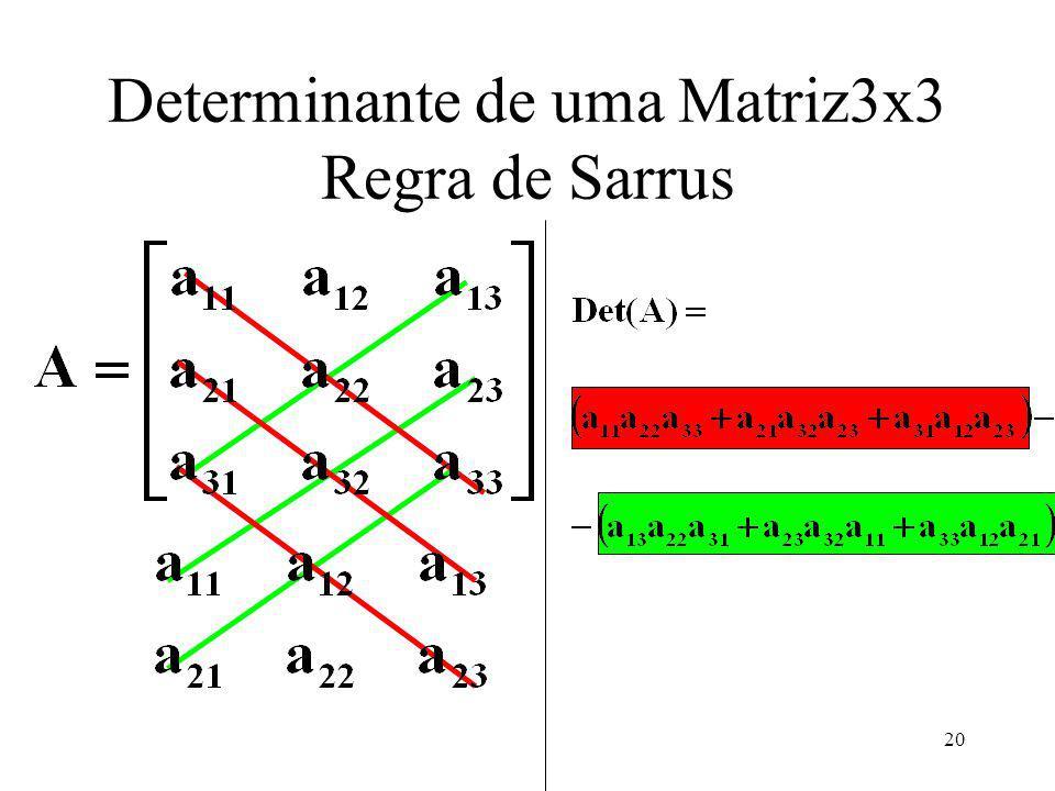 20 Determinante de uma Matriz3x3 Regra de Sarrus