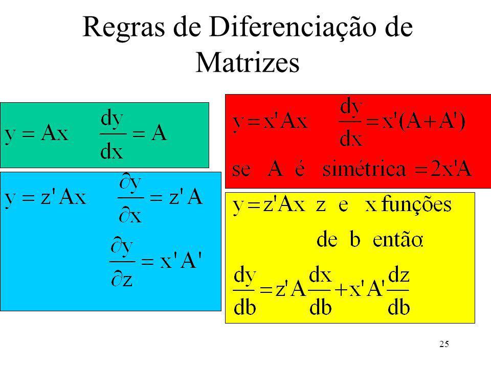 25 Regras de Diferenciação de Matrizes