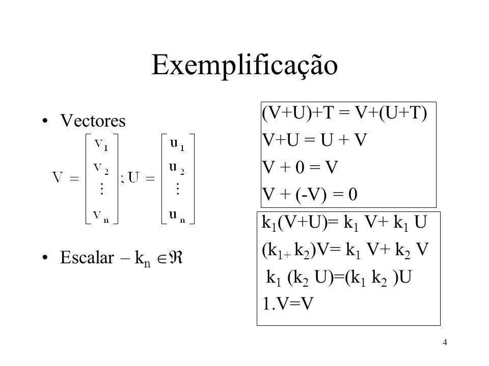 4 Exemplificação Vectores Escalar – k n (V+U)+T = V+(U+T) V+U = U + V V + 0 = V V + (-V) = 0 k 1 (V+U)= k 1 V+ k 1 U (k 1+ k 2 )V= k 1 V+ k 2 V k 1 (k 2 U)=(k 1 k 2 )U 1.V=V