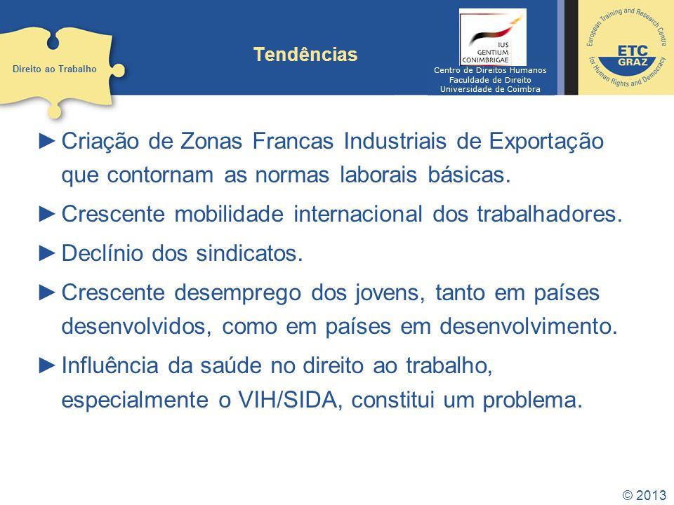 © 2013 Tendências Criação de Zonas Francas Industriais de Exportação que contornam as normas laborais básicas.