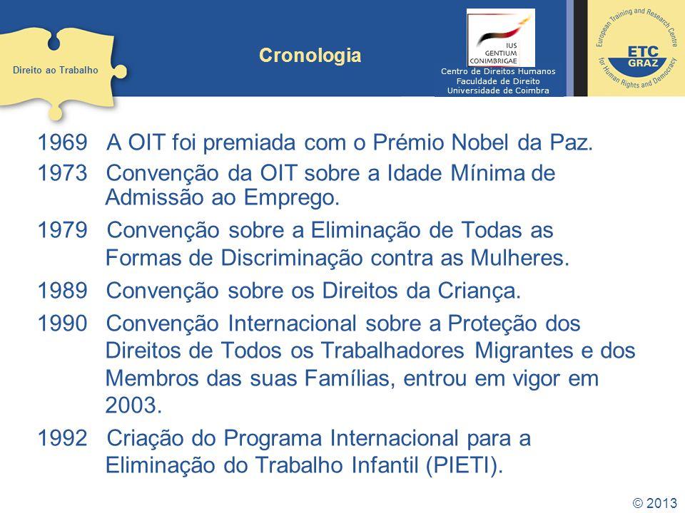 Cronologia 1969 A OIT foi premiada com o Prémio Nobel da Paz.
